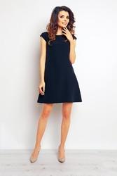Granatowa trapezowa sukienka mini