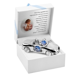 Srebrne auto niebieskie kryształy swarovski pamiątka na chrzest roczek grawer
