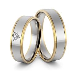 Obrączki ślubne dwukolorowe z sercem i brylantami - au-973