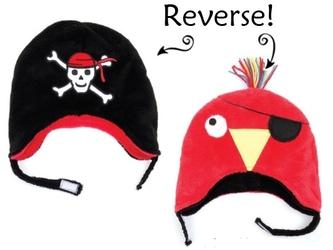 Dwustronna czapka zimowa FlapJack 6m-3l - pirat  papuga