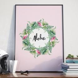 Plakat w ramie - aloha , wymiary - 40cm x 50cm, ramka - czarna