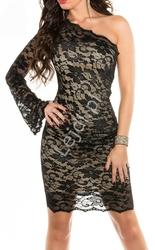 Dwukolorowa zmysłowa sukienka na jedno ramię z koronki, 361-5