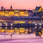 Warszawa zamek królewski bajkowy zamek - plakat premium wymiar do wyboru: 45x30 cm
