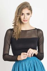 Czarna elegancka bluzka z tiulem w paski