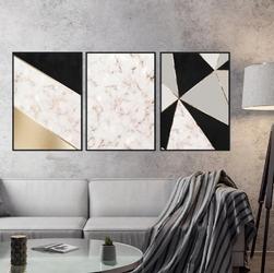 Zestaw trzech plakatów - marble elegance , wymiary - 60cm x 90cm 3 sztuki, kolor ramki - czarny