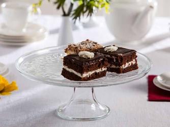 Patera na ciasto i tort  talerz szklany na nóżce edwanex róża 30 cm opakowanie prezentowe