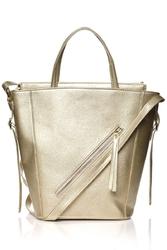 Złota nowoczesna damska torebka shopper z suwakiem na przodzie