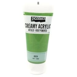 Kremowa farba akrylowa metaliczna 60 ml - zielona - ZIEL