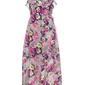 Sukienka midi w kwiaty bonprix jasnoszaro-jasnoróżowo-żółty w kwiaty