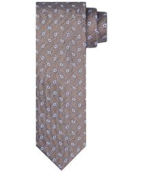 Beżowy jedwabny krawat ze wzorem profuomo