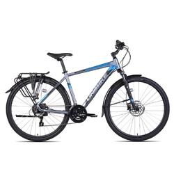 Rower crossowy unibike flash eq man 2021, kolor grafitowy-niebieski, rozmiar 21