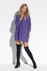 Fioletowa oversizowa tunika swetrowa z kieszeniami
