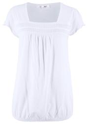 Shirt bawełniany z koronką, krótki rękaw bonprix biały