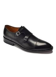 Eleganckie czarne skórzane buty męskie podwójne monki 46