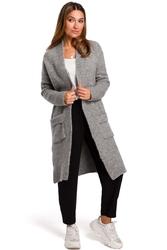 Długi szary sweter-kardigan z kieszeniami
