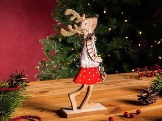 Figurka  ozdoba  dekoracja świąteczna drewniana święta boże narodzenie altom design dziewczynka renifer z futerkiem 9,5 x 5 x 22,5 cm