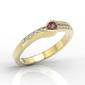 Pierścionek z żółtego złota z rubinem i brylantami 0,05 ct wzór bp-3413z-r - żółte z rodowaniem  rubin