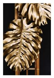 Złota monstera - plakat Wymiar do wyboru: 21x29,7 cm