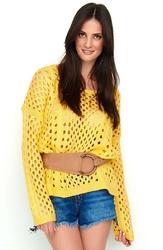 Ażurowy morelowy sweter oversize