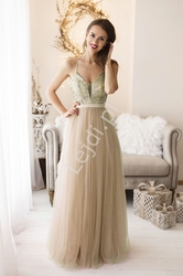 Złota tiulowa sukienka z brokatem 2236