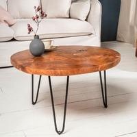 Drewniany okrągły stolik kawowy mosaik  śr. 70 cm