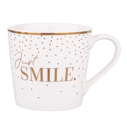 Kubek do kawy i herbaty porcelanowy altom design wysoki 350 ml, dekoracja just smile
