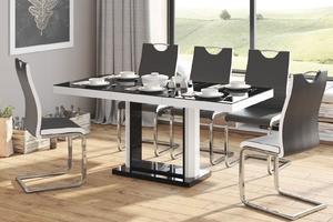 Rozkładany stół w wysokim połysku quadro 120 z czarnym blatem i białą obwódką