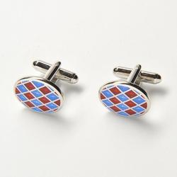 Eleganckie spinki do mankietów owalne w niebieską i czerwoną szachownicę