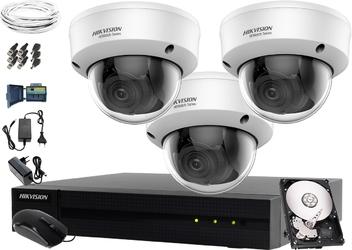 Kamery do monitoringu sklepu domu firmy hikvision hiwatch hwd-7104mh-g2, 3 x hwt-d340-vf, 1tb, akcesoria