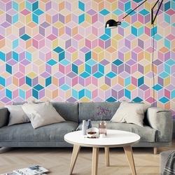 Geometryczne szaleństwo - kolorowa tapeta 3d , rodzaj - tapeta flizelinowa