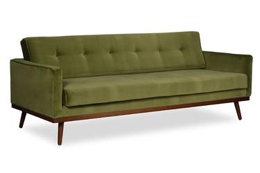 Sofa klematisar welurowa 3-osobowa welur bawełna 100 oliwkowy