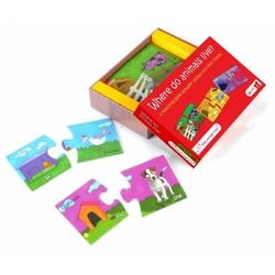 Puzzle duo the purple cow - połącz w pary - gdzie mieszkają zwierzątka