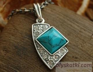 Avenida - srebrny wisiorek z turkusem i kryształkami