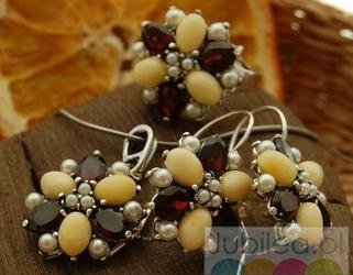 Srebrny komplet bursztyny, perły i granaty mariano