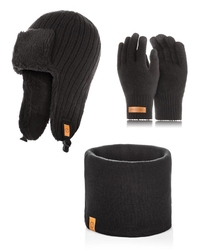 Brødrene czarny komplet zimowy uszatka komin rękawiczki