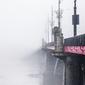 Warszawa most we mgle - plakat premium wymiar do wyboru: 42x59,4 cm