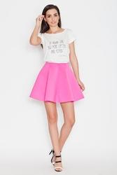 Różowa delikatnie plisowana mini spódnica