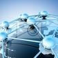 Fototapeta concepto de internet y trabajo en red con mapie del mundo