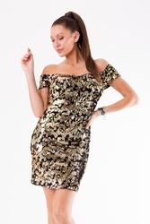 Evalola sukienka cekiny złoty 54005-2