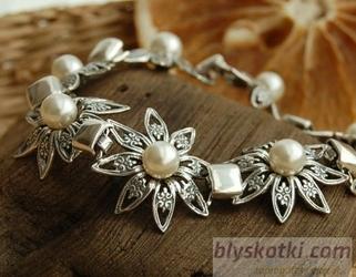 Madona - srebrna bransoletka z perłami