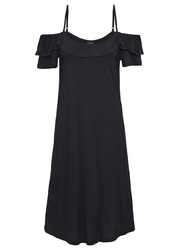 Sukienka cold-shoulder z dżerseju z falbanami bonprix czarny
