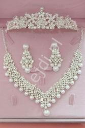 Komplet biżuterii ślubnej z cyrkoniami swarovskiego i perełkami - naszyjnik, kolczyki, diadem