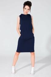 Granatowa dresowa sukienka z kapturem