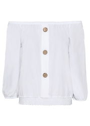 Bluzka z dekoltem quot;carmenquot; bonprix biały