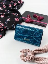 Skórzany portfel damski niebieski lorenti 76112 - niebieski