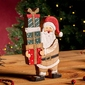 Figurka  ozdoba  dekoracja świąteczna drewniana święta boże narodzenie altom design mikołaj z prezentami 11 x 2 x 18 cm