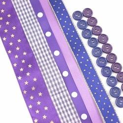 Zestaw wstążek i guzików - fioletowy ciemny - fioletowy ciemny