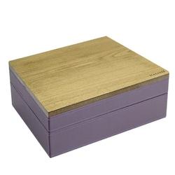 Pudełko na biżuterię podwójne classic wood fioletowe
