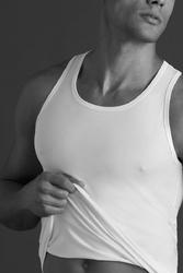 Biała męska podkoszulka na ramiączka z bawełny egipskiej mako m