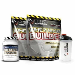 HI-TEC Whey Mass Builder - 6000g + Creatine Powder - 250g + Shaker - Banana